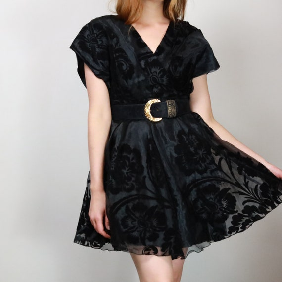 80s black organza cocktail dress with velvet flora