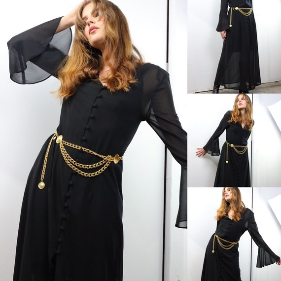 Vintage 90s black sheer button down witchy dress w