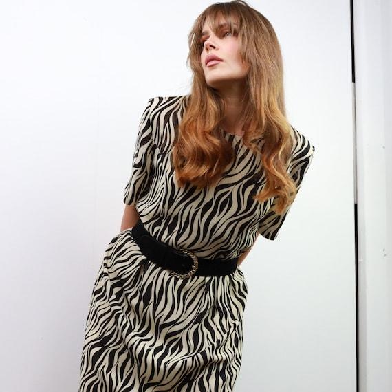 80s glam rock zebra print dress. Animal print dres