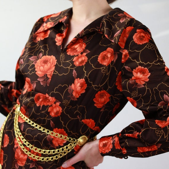 Vintage 70s brown and orange floral Gucci style d… - image 4