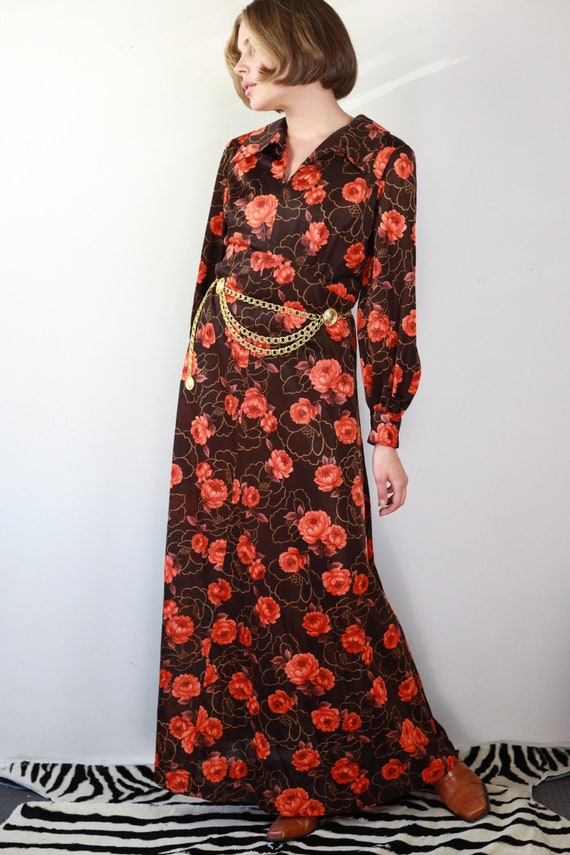 Vintage 70s brown and orange floral Gucci style d… - image 3