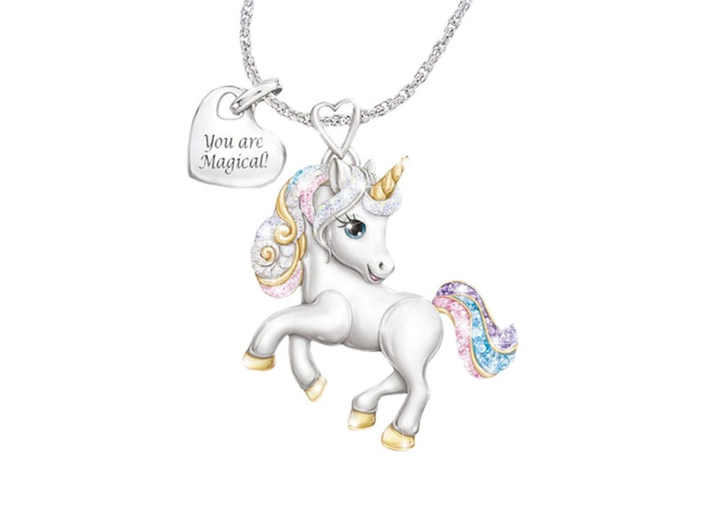 Childrens Cute Rainbow Unicorn Jewelry Set Earring and Necklace Set
