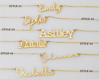 Name Necklace - 14K Gold - 925K Silver Necklace - Personalized Name Necklace - Personalized Jewelry - Christmas Gift - Gift for Her - NN4