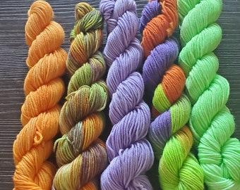 Halloween mini set   Sock Weight   75/25 Superwash Merino Wool/ Nylon