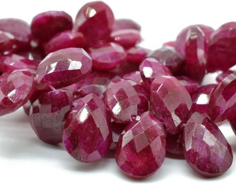 Red Ruby Quartz Faceted Tapered Shape Briolette Beads-14x24 mm 8 Pcs US-522