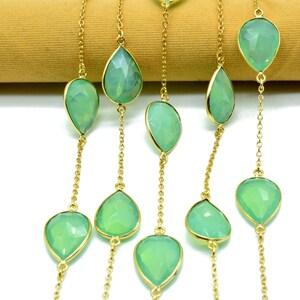 1 Feet Aqua Chalcedony Bezel Chain I Handmade Bezel Link Chain I Gold Plated Bezel Link Chain I Brass Gold Overlay Chain
