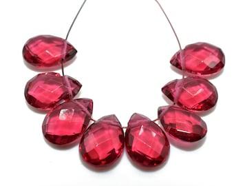 PINK TOURMALINE Earring Components Teardrop Beads #2