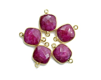 Ruby 12mm Cushion shape Double bail connector,Ruby Pendant,Ruby cushion Gold Plated bezel,Ruby Double loop connector,jewelry making charms