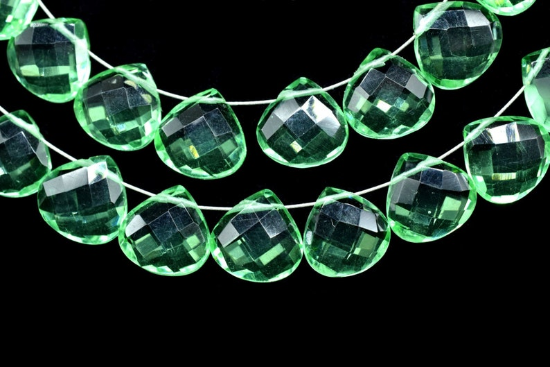 Green Amethyst Faceted Heart Shape Briolettes,10mm Heart Shap Beads Strand,Green Amethyst Briolettes Strand,10mm Heart Shape Strand,9 inches