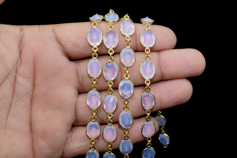 Oval Necklace Chain,Bezel Connector Chain,Selling Per Foot,Jewelry making chains Pink Opalite Gold Plated Bezel Chain Gemstone Connector