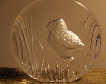 Mats Jonasson Swedish Crystal Glass Bird Paperweight 9212 Blue Tit
