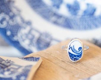Vintage reclaimed blue willow ring | UK Size Q | Sterling Silver Ring | Jewellery Gift | Gifts for her | Coastal Jewellery | Blue Ring