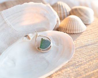 Seaglass and Sterling Silver Necklace   Jewellery Gift   Gifts for her   Mother's day   Coastal Jewellery   Seaglass Necklace
