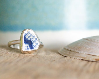 Sea Pottery and Sterling Silver Ring   UK Size M1/2   Found Sea Pottery   Jewellery Gift   Gifts for her   Coastal Jewellery   Blue Ring