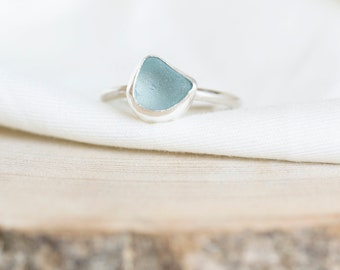 Seaham Aqua Sea Glass and Sterling Silver Stackable Ring | UK size Q | Beach Jewellery | Jewellery Gift | Gifts for her | Coastal Jewellery