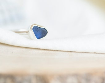 Seaham Inky-blue Sea Glass and Sterling Silver Heart Shaped Stackable Ring   UK size  Q 1/2   Jewellery Gift   Gifts for her   Coastal
