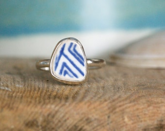 Sea Pottery and Sterling Silver Ring | UK Size P | Found Sea Pottery | Jewellery Gift | Gifts for her | Coastal Jewellery | Blue Ring