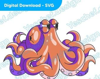 Cartoon Octopus Downloadable SVG, Digital Download Art, Downloadable Vector art
