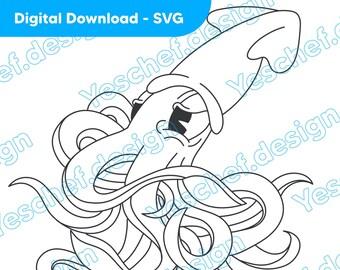 Cartoon Squid Downloadable SVG, Digital Download Art, Downloadable Vector art