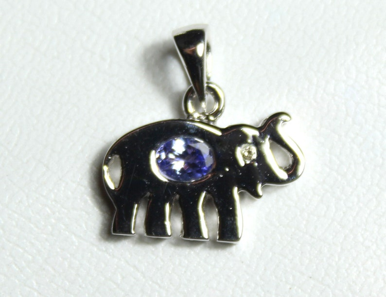 Natural Elephant Pendant-Handmade Silver Pendant Untreated Stone Pendant Gift for her Stone Necklace 92.5 Sterling Silver Iolite pendant