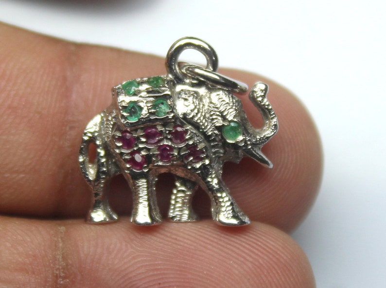 Stone Necklace Untreated Stone Pendant Natural Ruby /& Emerald Stone Elephant Pendant-Handmade Silver Pendant 92.5 Sterling Silver pendant