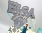 Frozen snowflake themed 3d cake topper personalised name and age with six additional snowflakes