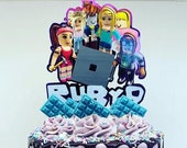 Roblox themed cake topper / Personalised Roblox themed cake topper package /  Name and Age Roblox themed cake topper package