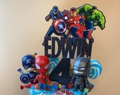 Avengers themed cake topper package / Personalised Avengers themed cake topper package /  Name and Age Avengers themed cake topper package