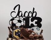 Personalised football soccer birthday cake topper