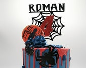 Spiderman themed cake topper package with an additional 4 spiders