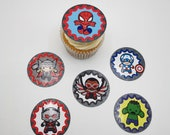 Avengers themed double layer cupcake toppers