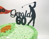 Golf themed cake topper / Personalised Golf themed cake topper package /  Name & Age Golf themed cake topper package