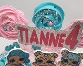 Personalised doll themed name and age birthday double layer cake topper