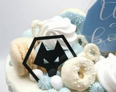 Hexagon shaped football acrylic cake charm