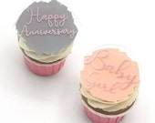 Personalised Acrylic paint splash cupcake toppers
