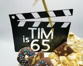 Clapper board acrylic cake charm / Film board acrylic cake charm
