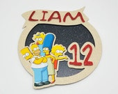 Simpsons themed cake topper / Personalised Simpsons themed cake topper package / Name and Age Simpsons theme cake topper package