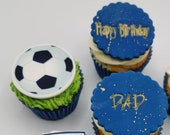 Football / soccer themed edible cupcake toppers