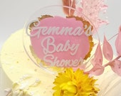 Paint splash and gold metallic leaf acrylic paddle cake topper