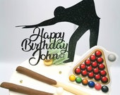 Snooker themed cake topper / Personalised Snooker themed cake topper package /  Name & Age Snooker themed cake topper package