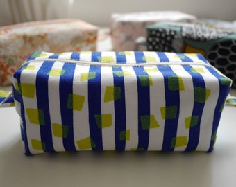 Royal blue & white stripe - box pencil case. Handmade. 100% Cotton. Lined. Japanese print. Pencil case/cosmetic case/sewing case.