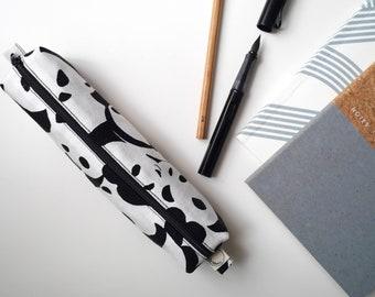 Pandas - small box pencil case. Handmade. 100% Cotton. Lined. Japanese Pandas print. Pencil case/crochet needle case.