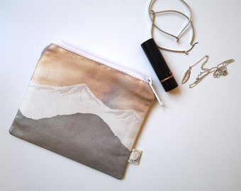 Mountains & Trees - Small Zipper Pouch - Obi Repurposed, exclusive. Japanese Obi, Kimono. Decorative metallic brocade pouch/purse.