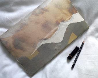 Mountains Envelope Clutch Bag - Obi Repurposed, exclusive. Japanese Obi. Decorative metallic fabric. Evening bag. One-off, unique gift.