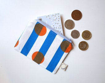 Bright spots and stripes, blue & orange - small pouch. Handmade. 100% Cotton. Lined. Japanese print. Coins/cards/earphones pouch, purse.