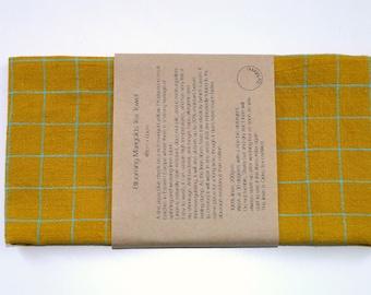 Blooming Marigolds Tea Towel. 100% Linen. Homeware, kitchen, gift.