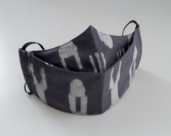 Face Covering. Various patterns and sizes available. Indian hand block, Ikat, 100% Cotton, 3 layers.
