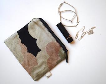 Clouds - Small Zipper Pouch - Obi Repurposed, exclusive. Japanese Obi, Kimono. Decorative metallic brocade pouch/purse. One-off unique gift.