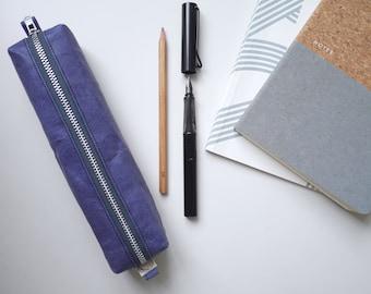 Blue vegan leather - small box pencil case. PAP FAB. Handmade. Unique, quirky gift. Pencil case, crochet needles.