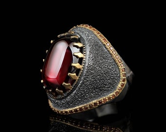 Handmade Multi-stone Ring Engraved Black Zircon Rhodium Plated Ring Men Gift For Him Gold Engraved Ring Elegant Unique Silver Ring